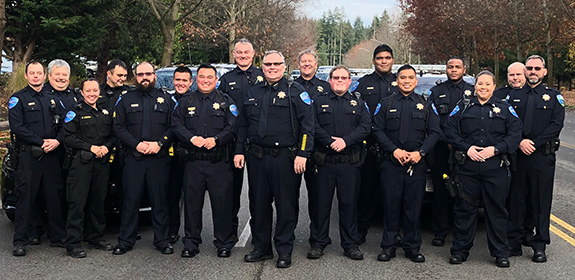 Tulalip Tribal Police Department of all officers in group photo mobile image.