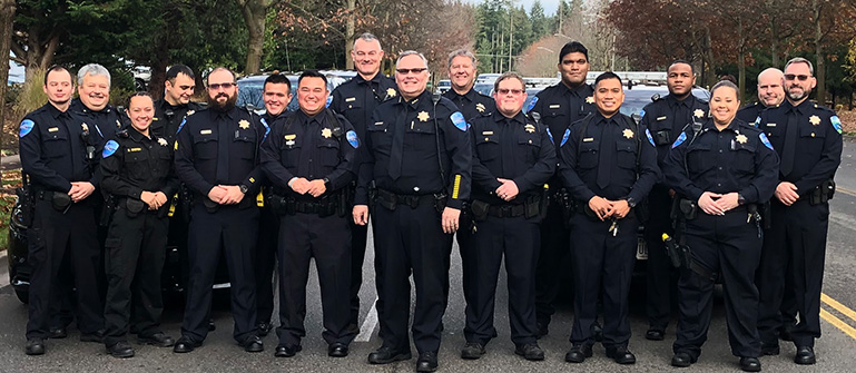Tulalip Tribal Police Department of all officers in group photo tablet image.